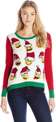 Ugly Christmas Sweater Junior's Emojis Cropped Barrel Bottom Pullover Christmas Sweater