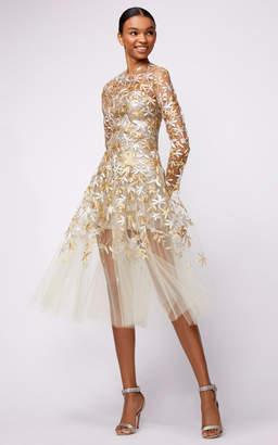 Oscar de la Renta Full Sleeve Embroidered Midi Dress