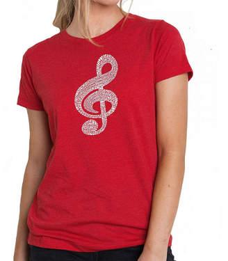 Blend of America LOS ANGELES POP ART Los Angeles Pop Art Women's Premium Word ArtT-shirt - Music Note