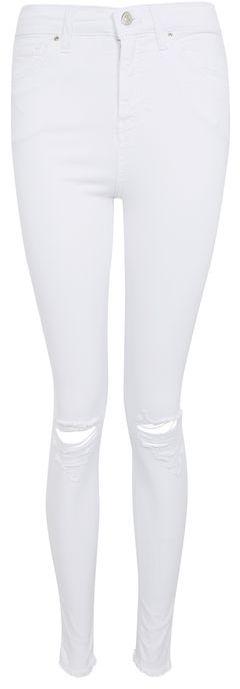 TopshopTopshop Moto white ripped jamie jeans