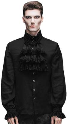 Devil Fashion Gothic Flounce Stand Collar Long Sleeve Mens Tie Shirt With Pleated Cuff (S, )