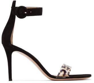 Gianvito Rossi Stella 85 Leopard Plexi And Suede Sandals - Womens - Leopard