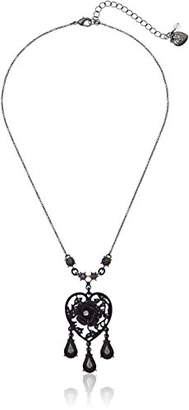 Betsey Johnson Roses Hematite and Stone Heart Pendant Necklace