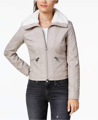 Coffeeshop Juniors' Faux-Fur-Collar Moto Jacket