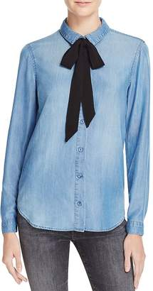 Bella Dahl Chambray Tie Neck Shirt - 100% Bloomingdale's Exclusive $184 thestylecure.com