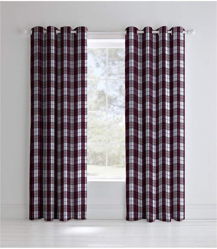 Catherine Lansfield Henley Check Lined Eyelet Curtains