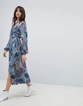 Gestuz Floral Printed Wrap Midi Kimono Dress