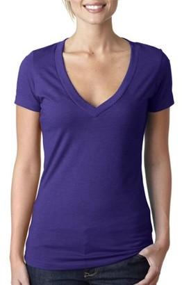 Clementine Apparel Women's Deep V-Neck Short Sleeve T-Shirt