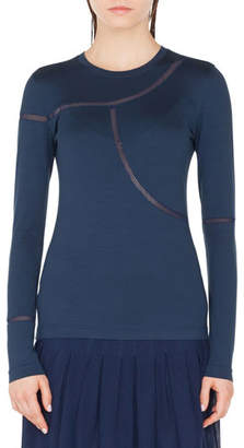 Akris Punto Long-Sleeve Mesh-Inset Tee