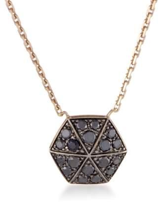 Stephen Webster Deco 18K Rose Gold Black Diamond Pave Hexagonal Pendant Necklace