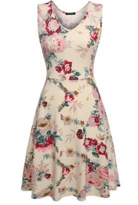 ACEVOG Women Sleeveless Round Neck Floral Print Skater Dress M