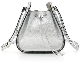 Valentino Rockstud Metallic Leather Bucket Bag