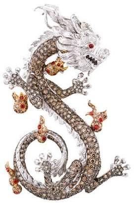 Dragon Optical 18K Diamond & Spessartine Garnet Pendant Brooch