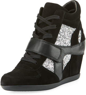 Ash Bowie Wedge Sneaker with Glitter Trim