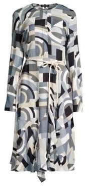 Lafayette 148 New York Women's Paris Geometric Print Belted A-Line Dress - Aerial Blue - Size 10