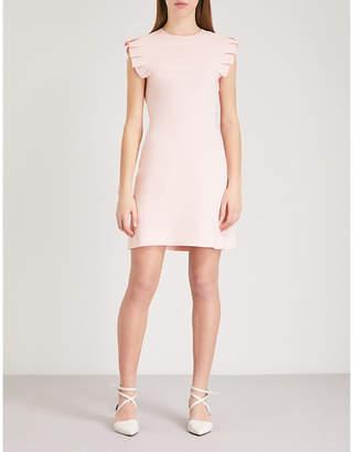 Sandro Pleated yoke crepe mini dress