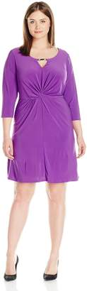 NY Collection Women's Plus-Size Solid 3/4 Sleeve Scoop Neck Dress with Trim At Keyhole and Knot At Front