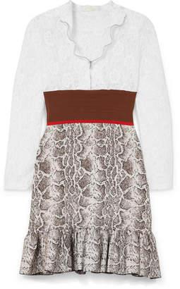 Chloé Paneled Lace, Stretch And Jacquard-knit Mini Dress