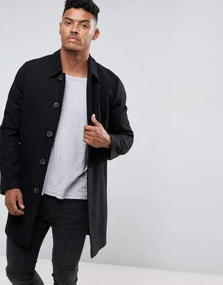 Asos DESIGN wool mix trench coat in black