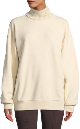 Helmut Lang Smooth Terry Turtleneck Pullover Sweatshirt