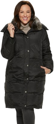 London Fog Tower By Plus Size TOWER by Faux-Fur Collar Down Puffer Coat