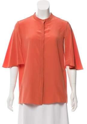 Chloé Silk Short-Sleeve Button-Up Top