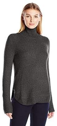 Lark & Ro Women's Rounded-Hem Funnel-Neck Sweater