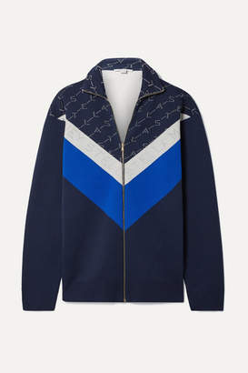 Stella McCartney Intarsia Stretch-knit Track Jacket - Navy