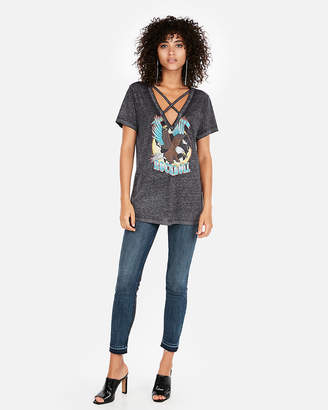 Express Strappy V-Neck Rock Roll Graphic Tee