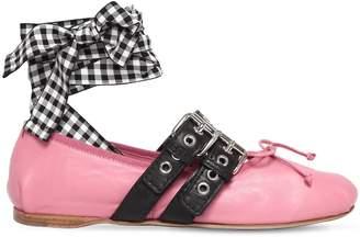 Miu Miu 10mm Buckled Leather Ballerina Flats