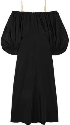 Tibi Sophia Off-the-shoulder Silk Dress - Black