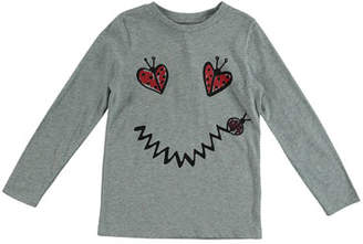 Stella McCartney Ladybug Smiley Face Long-Sleeve Tee, Size 4-10
