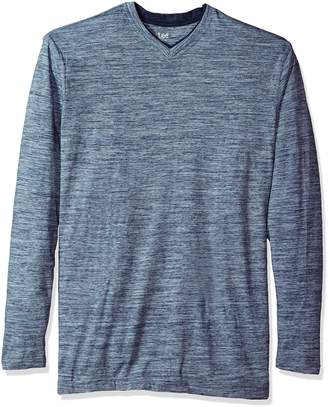 Lee Men's Big and Tall Tipping Long Sleeve Vneck Neck Shirt, Grey