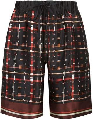 Meng Squares and Lines Silk Shorts