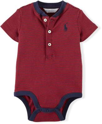 Ralph Lauren Striped Cotton Henley Bodysuit
