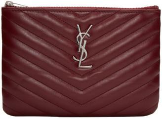 Saint Laurent Burgundy Quilted Monogram Bag Pouch $495 thestylecure.com