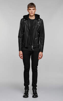 Mackage MAGNUS sleek leather biker jacket with jersey hood