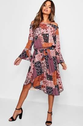 boohoo Bardot Bohemian Print Midi Dress