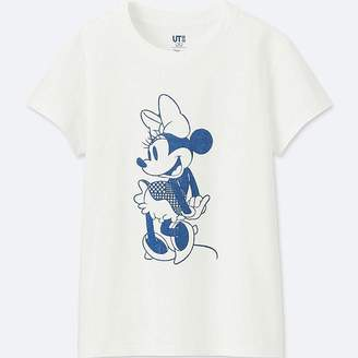 Uniqlo Women's Mickey Blue Short-sleeve Graphic T-Shirt