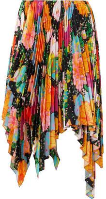 Richard Quinn Asymmetric Pleated Floral-print Satin Midi Skirt