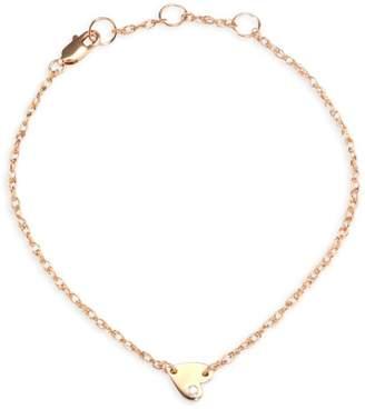 Jennifer Zeuner Jewelry Mia Mini Diamond & 18K Rose Gold Heart Anklet