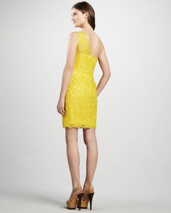 BCBGMAXAZRIA One-Shoulder Lace Dress