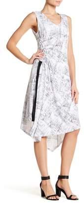 Ellen Tracy Asymmetrical Hem Sleeveless Patterned Dress