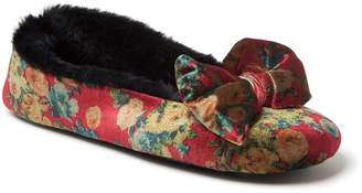 Dearfoams Women's Velvet Bow Ballerina Slippers