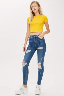 Topshop Mid Blue Super Ripped Jamie Jeans