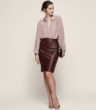 Reiss Olivia Stretch Panel Leather Skirt