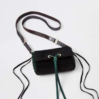 River Island Green leather knot front cross body bag