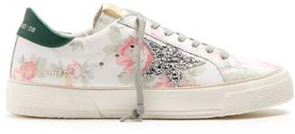 Golden Goose May floral-print leather trainers