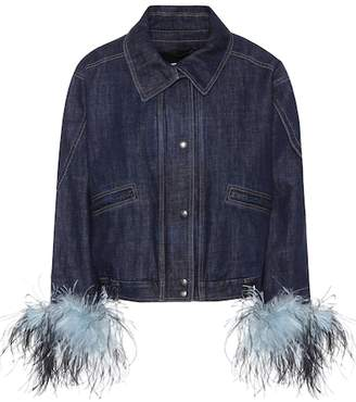 Prada Feather-trimmed denim jacket