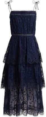 Zimmermann Castile tiered embroidered silk-chiffon dress